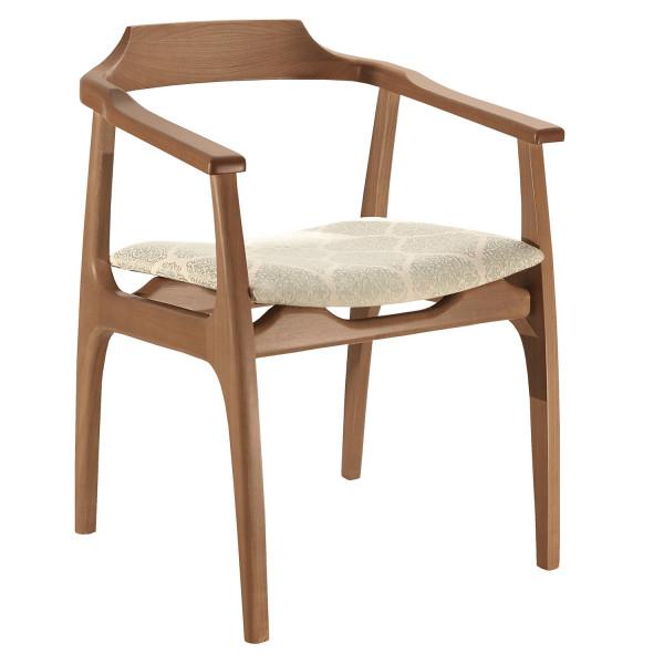 Cadeira Camile com encosto de madeira e braço