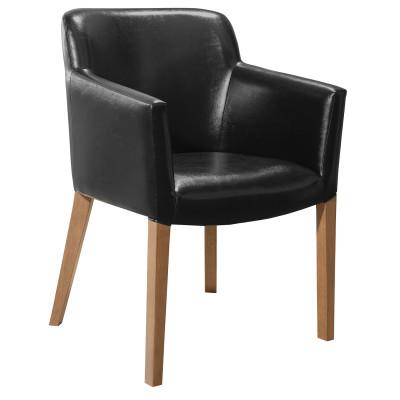 Cadeira Pocker com encosto estofado e braço