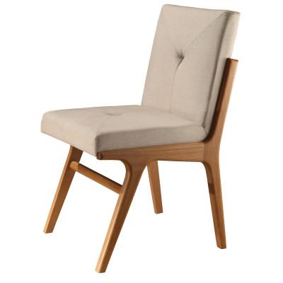Cadeira Andora com encosto de madeira estofado sem braço