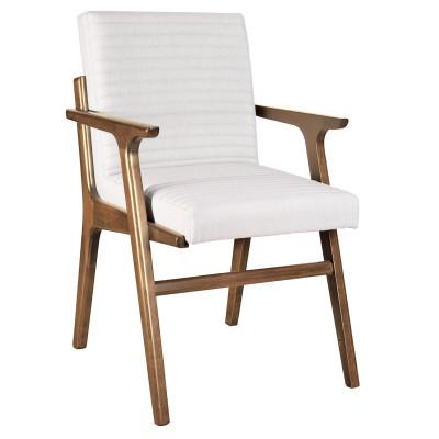Cadeira Decor com encosto de madeira estofado com braço
