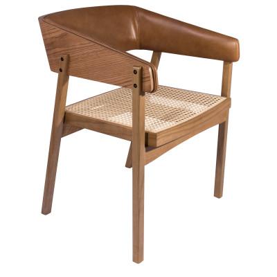 Cadeira Melissa Tela 01 com encosto madeira estofado com braço