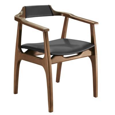 Cadeira Camile 03 com encosto de madeira com braço