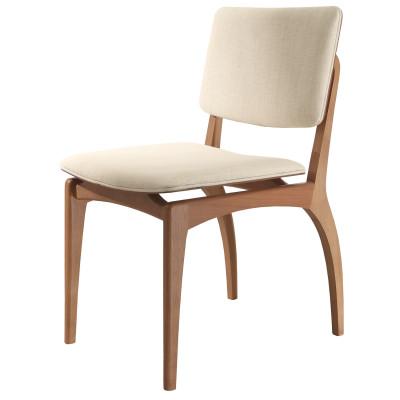 Cadeira Centauro 02 com encosto de madeira estofado sem braço